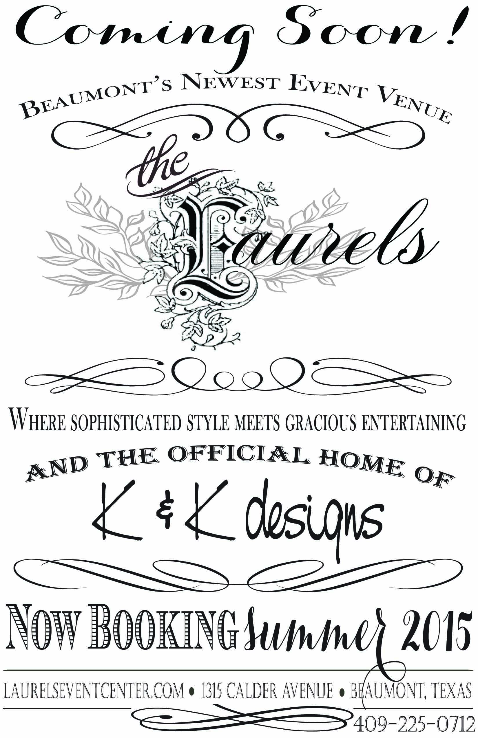 Flyer for Bridal Shows featuring K and K and The Laurels